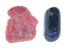 Rhodochrosite (3.5-4) and Kyanite (6-7)