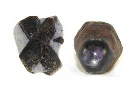 Staurolite (7-7.5) and Ruby (9)