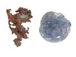 Native Copper (2.5-3) and Celestite (3-3.5)