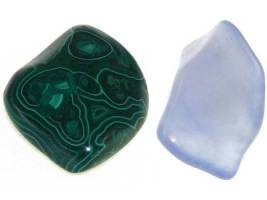 Malachite (3.5-4) and Blue Chalcedony (7)
