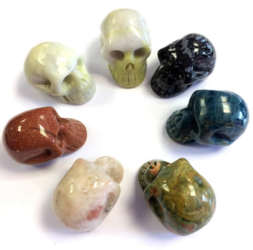 Crystal Skulls at Rainbow Spirit crystal shop Wadebridge Cornwall