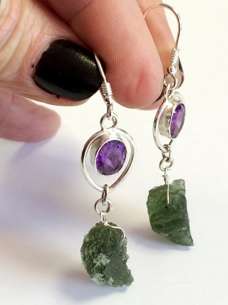Faceted Amethyst & Moldavite Earrings from Silver Moldavite Pendants & Earrings
