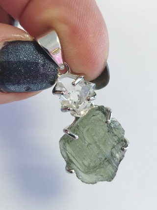 Moldavite & Herkimer Diamond Pendant from Silver Moldavite Pendants & Earrings