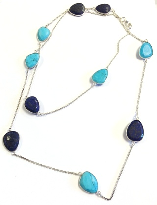 Lapis Lazuli & Turquoise Necklace from Silver Gemstone Pendants