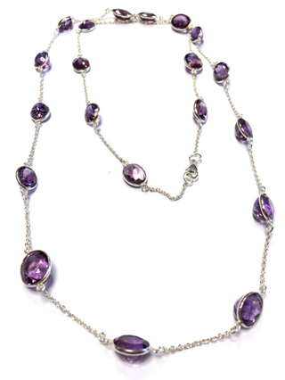 Faceted Amethyst Necklace from Silver Gemstone Pendants