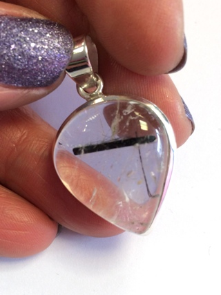 Tourmalinated Quartz Pendant from Silver Gemstone Pendants