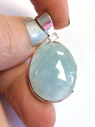 Faceted Aquamarine Pendant from Silver Gemstone Pendants