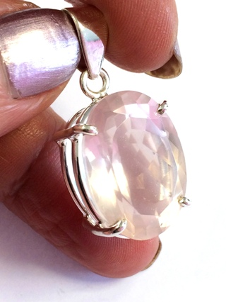 Faceted Rose Quartz Pendant from Silver Gemstone Pendants