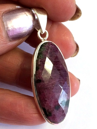 Faceted Ruby Pendant from Silver Gemstone Pendants