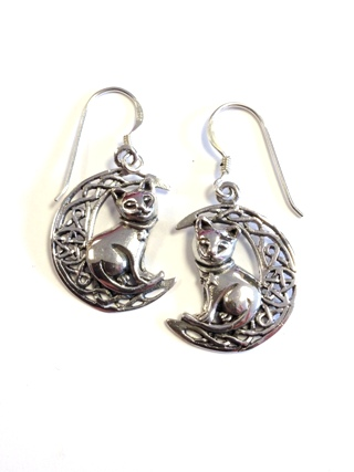 Crescent Moon with Cat Earrings from Silver Symbolic Jewellery