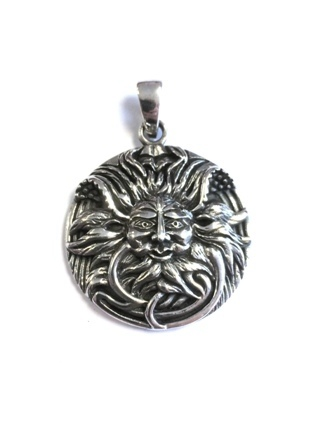 Round Green Man Pendant from Silver Symbolic Jewellery