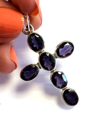 Iolite Cross Pendant from Silver Gemstone Pendants