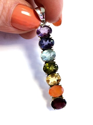 Chakra Drop Pendant from Silver Gemstone Pendants