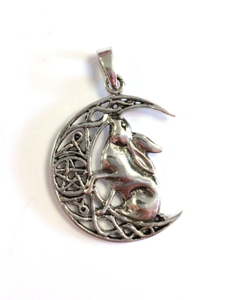 Moon Gazing Hare Silver Pendant  from Silver Symbolic Jewellery