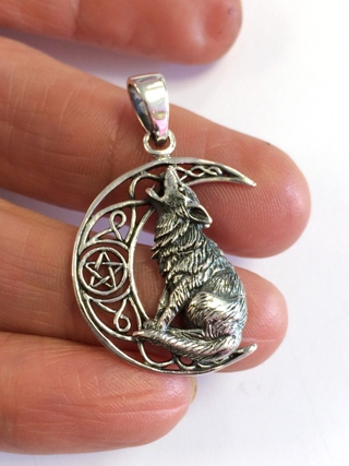 Wolf on Crescent Moon Silver Pendant from Silver Symbolic Jewellery