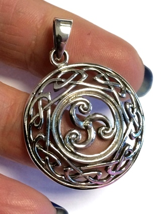 Triskele in Celtic Knotwork Pendant from Silver Symbolic Jewellery