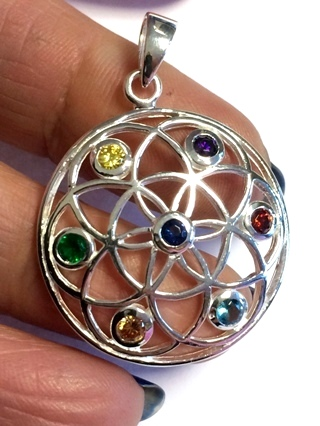 Gemstone Flower of Life Pendant from Silver Symbolic Jewellery