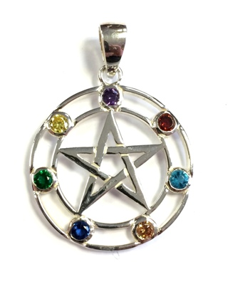 Chakra Pentacle Pendant *SOLD* from Silver Symbolic Jewellery