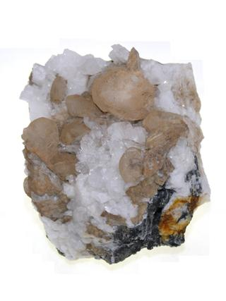 Calcite on Quartz from Douglas Creba Collection