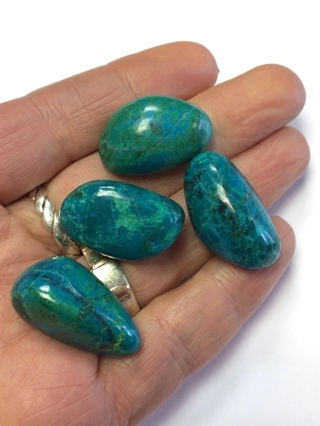 Set of 4 Chrysocolla Tumble Stones from Crystal Grids & Sets