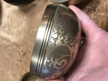 Singing Bowl with Engraved Pattern from Tibetan Singing Bowls